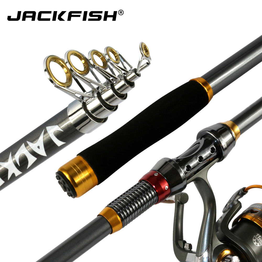 JACKFISH High Quality Carbon Fiber Telescopic Fishing Rod Sea Carp Fishing Spinning Rod pesca 2.1/2.4/2.7/3.0/3.6m