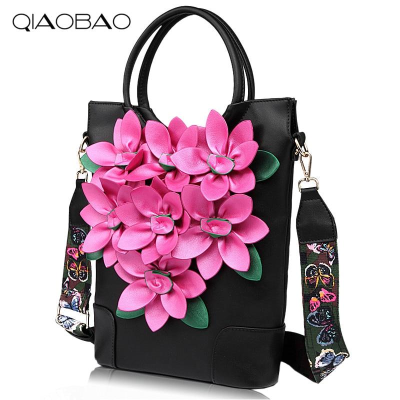 QIAOBAO 2018 New Female Flower Bag national wind embroidery retro flower handbag shoulder bag Quality Leather Bag Travel Totes