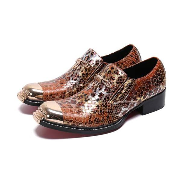 Italian Handmade Men Dress Shoes Fashion Cow Leather Formal Party Shoes Snakeskin Male Brogue Shoes Gentleman business loafers