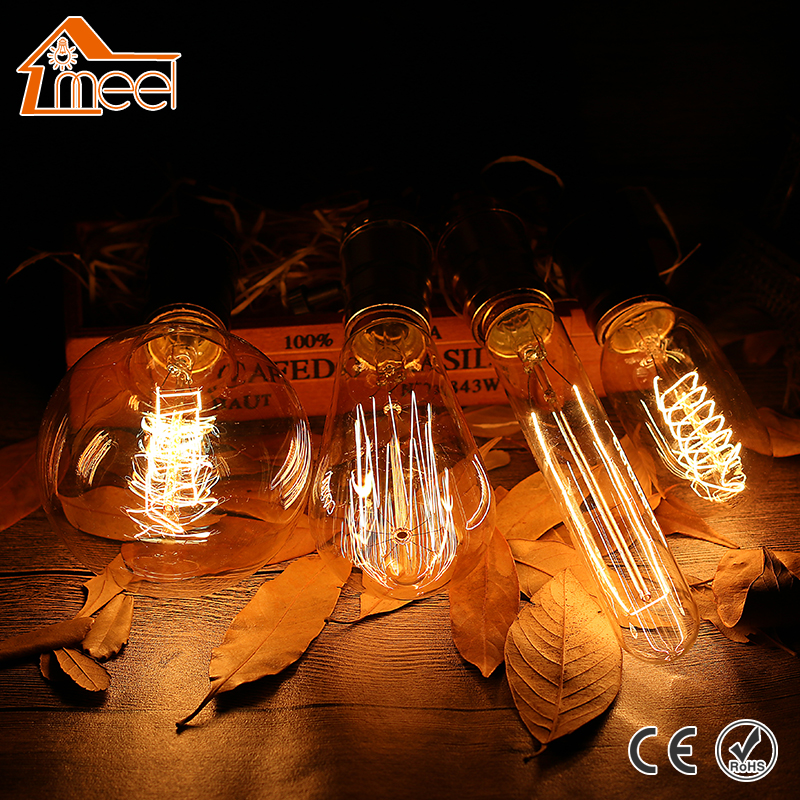Retro Vintage Edison Bulb E27 220V Spiral Filament Edison Light Bulb T10 T45 A19 ST64 G80 G95 G125 Incandescent Light