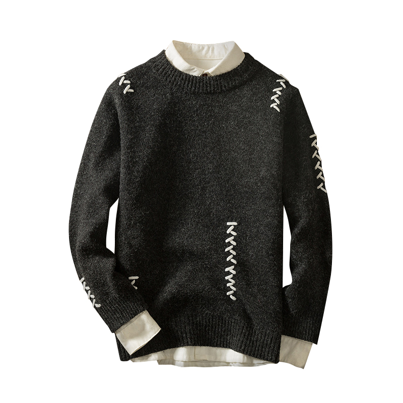 Brand Mens Sweater Knitwear Patchwork Fashion Design Streetwear Masculino Casual Knitted Sweater Male Brand Clothing Size XXL