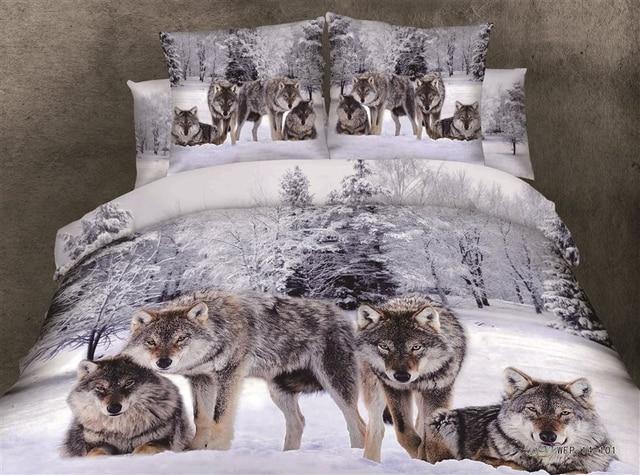 3d neige loup impression ensembles de literie queen couvre lit housse de couette feuilles lit. Black Bedroom Furniture Sets. Home Design Ideas