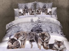 3D Snow Wolf print bedding sets queen size bedspread duvet cover sheets bed in a bag brand sheet quilt linen snowwolf cotton(China)