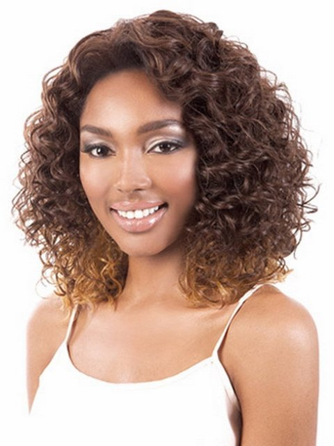 New Coming 14inch Brazilian Exotic Curly Hair Highlights Brown Wig