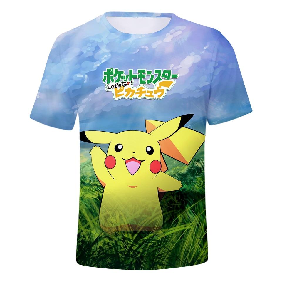 BTS 2018 New Game Pokemon Go Pikachu Eevee 3D Fashion Tshirt Women/Men Anime Print Summer Funny T-shirts Men Tops Kawaii Clothes