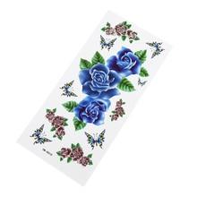 Горячие синие цветы временные татуировки наклейки Очаровательная Татуировка звезда наклейки женщина тело сексуальное искусство водонепроницаемый тату девушка подарок