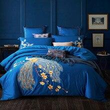Роскошный вышитый Комплект постельного белья длинный штапельный хлопок 4 шт наборы Летающий Феникс простыня наволочка пододеяльник Подкладка кровати