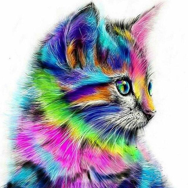 Abstraite Chat Animal Peinture à La Main Par Numéros Peinture