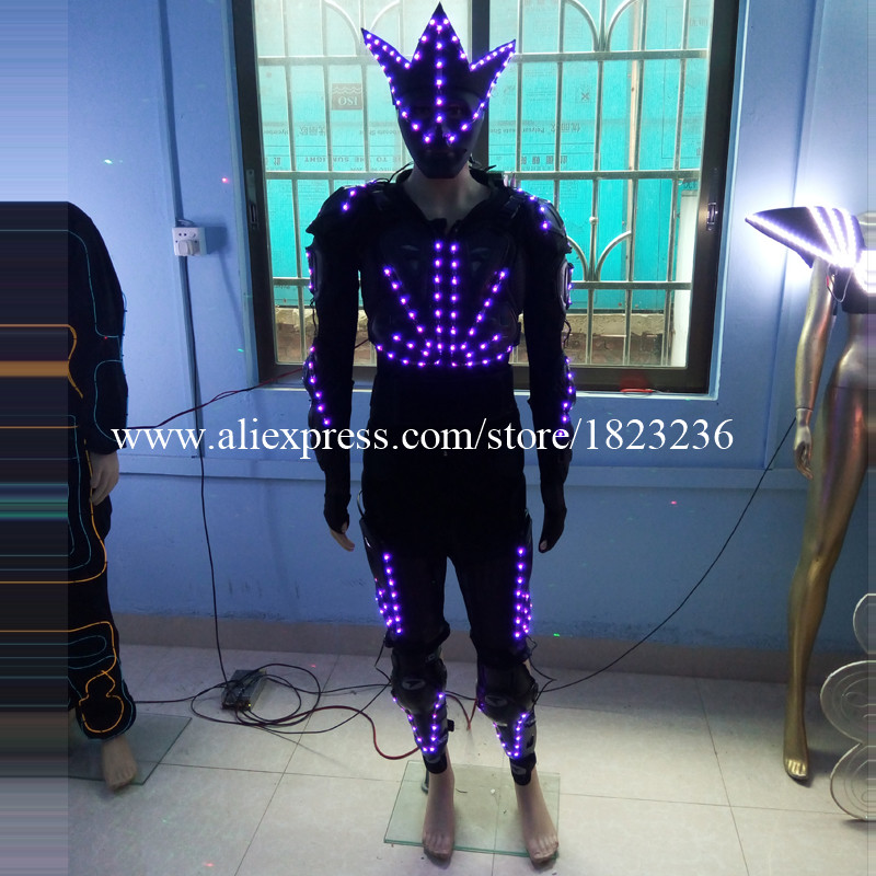 3 Sets Colorful Led Robot Luminous Ballroom Costume With Led Mask Led Lighting Clothing Suit For Stage Show Dance Wear Party