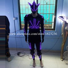 3 Sets Colorful Led Robot Luminous Ballroom Costume With Led Mask Led Lighting Clothing Suit For