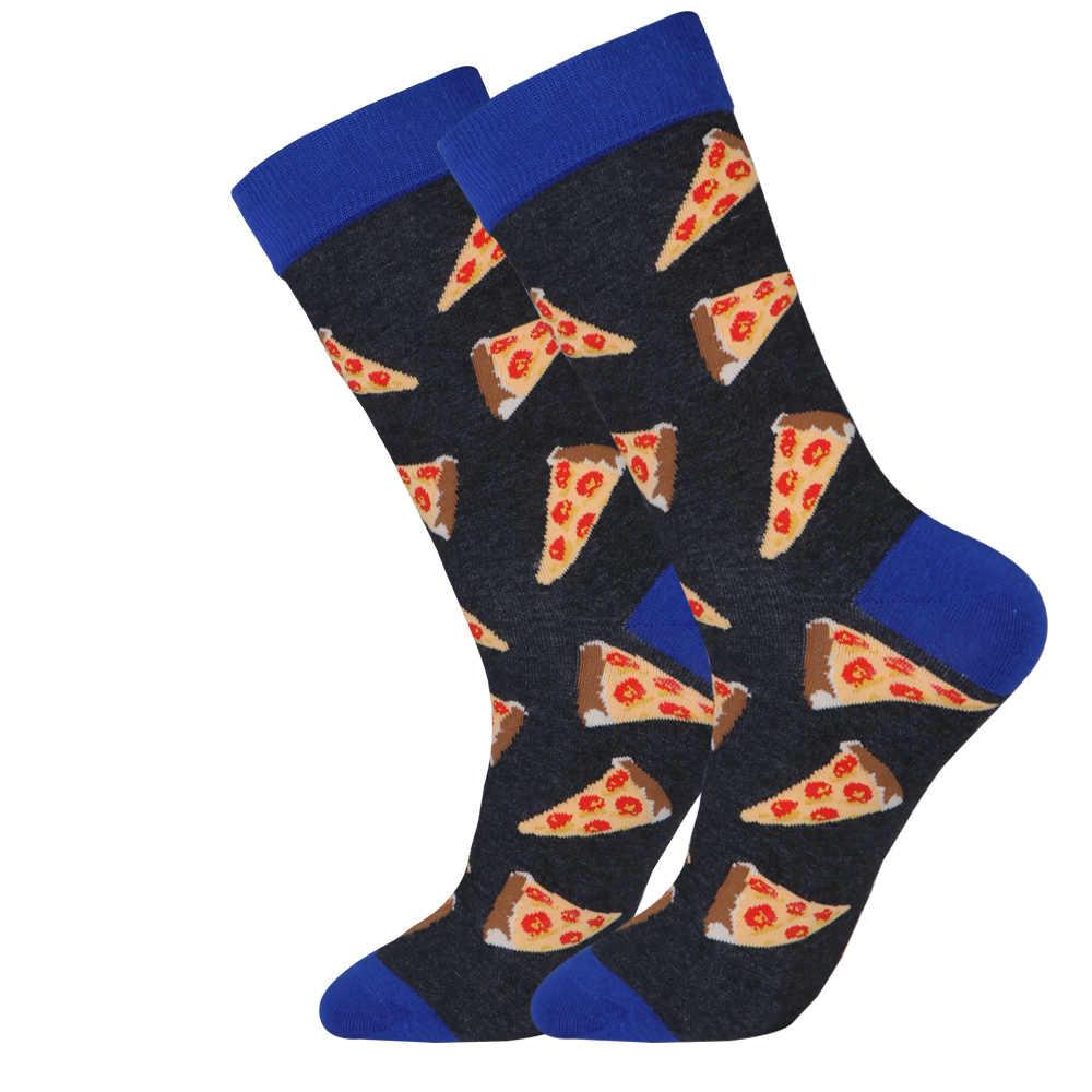 Большие размеры забавные мужские еда фрукты собака платье Новые забавные носки Тыква арбуз чипы пиццы ананас, кактус такса носок