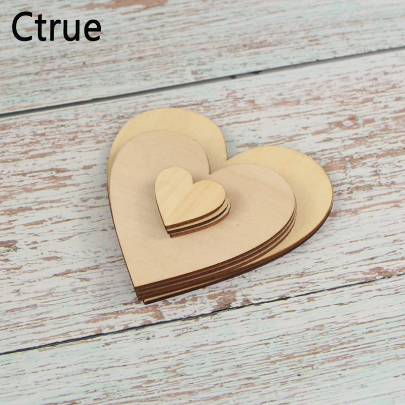 30PC 3cm 8cm 10cm Rustic Wedding Centerpieces Love Wooden Heart Confetti Scrapbooking Hobby DIY Craft Photo Props in Party DIY Decorations from Home Garden