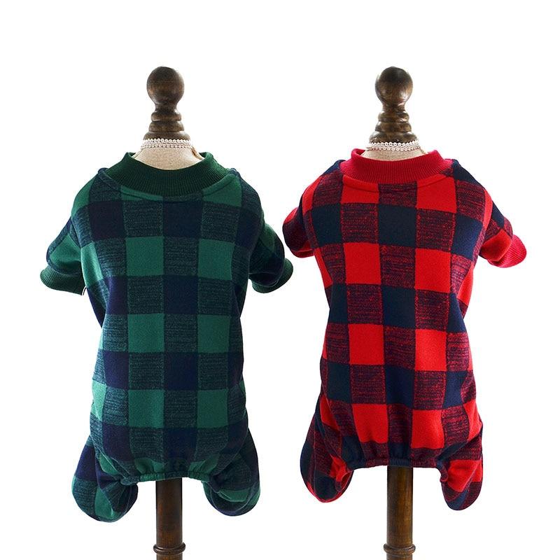 262bfbf77 Pet Cat Dog Clothes Warm Fleece Dog Jumpsuit Plaid Suit Hoodies for ...