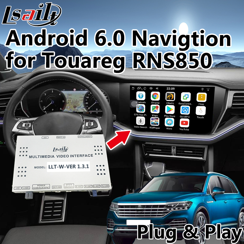 Android 6.0 GPS Navigation Box for Volkswagen Touareg RNS850 Video Interface integration with WIFI , Mirrorlink , youtube