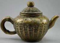 Elaborate Chinese Collectible Decorated Old Handwork Copper Carved Bamboo Basket Statue Tea Pot