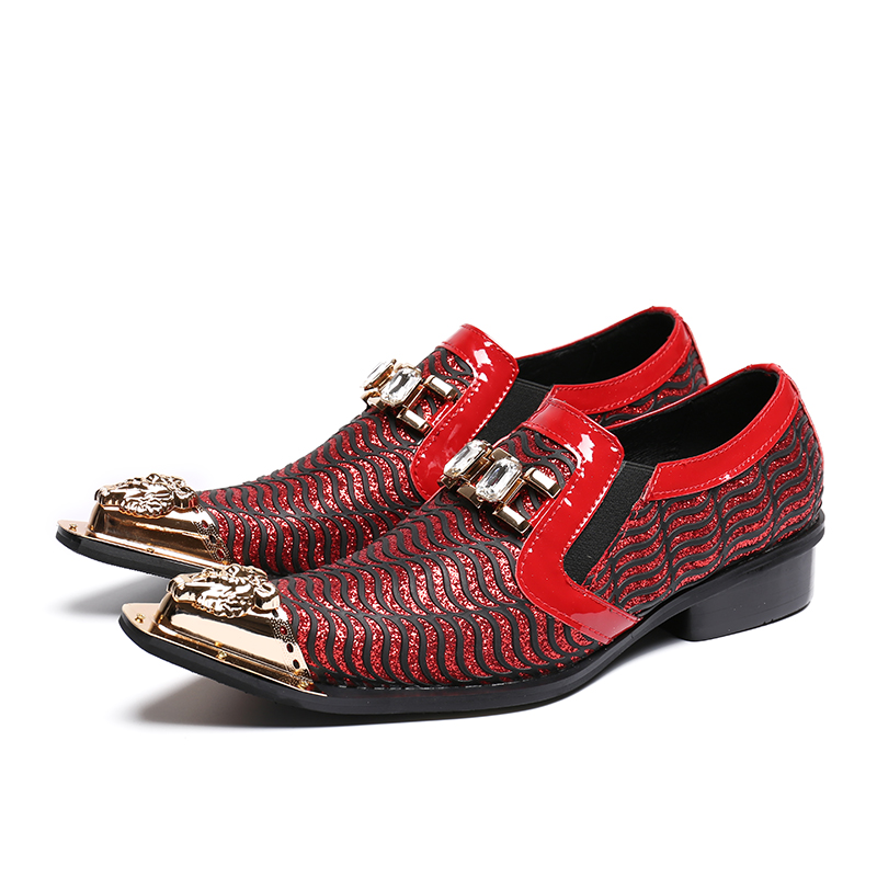 Marca Metal Designer Luxo Zapatos Apartamentos Decoração Onda Show Couro Moda Homens Vermelho Hombre De Sapatos As Mens Toe Apontou 5BYB8xP
