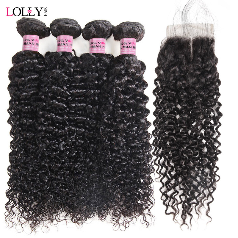 Apprehensive Malaysian Kinky Curly Hair With Closure 3/4 Bundles With Closure Lolly Non Remy Human Hair Weaves Extensions With Lace Closure Human Hair Weaves Hair Extensions & Wigs