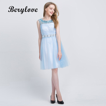 BeryLove Beading Knee Length Homecoming Dresses 2018 Scooped Open Back Short Cocktail Party Dresses Cheap Women Party Gowns