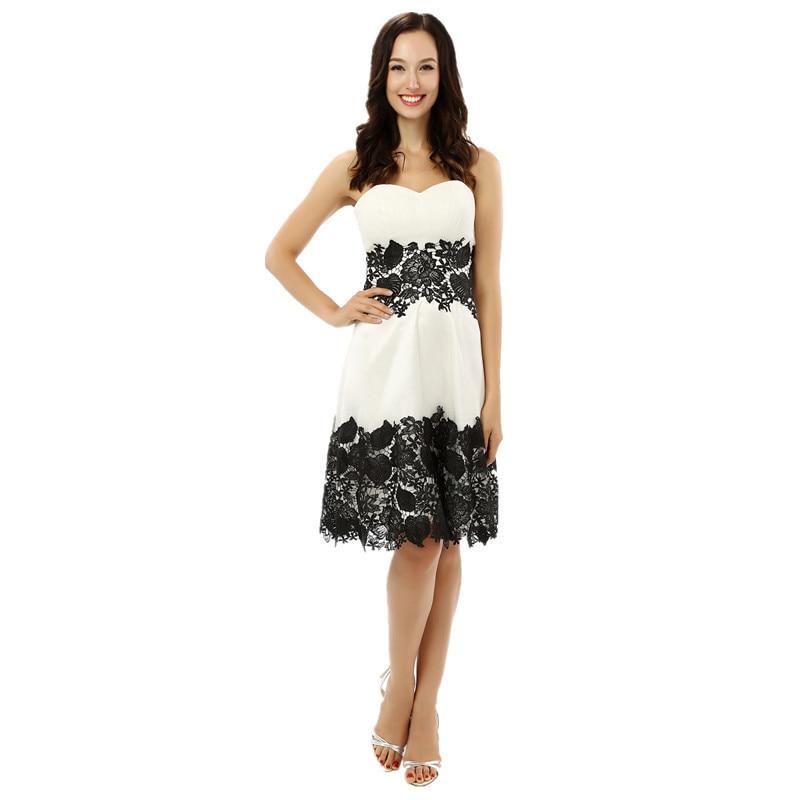 Vestidos de fiesta blanco con encaje negro