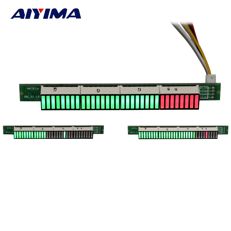 Aiyima Singel 32 Level Indicator VU Meter Stereo Amplifier Board Music Audio Spectrum Indicator Adjustable Light Speed With AGC aiyima 5pcs 5v rgb led level indicator vu meter amplifier board diy mcu adjustable display pattern dual channel dual 24
