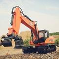 Caminhão do rc 1:10 caminhões da construção de controle remoto rc azul/orange escavadeira + rc madeira grab 15wd