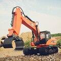 Camiones rc 1:10 rc camiones de construcción de control remoto azul/orange excavadora + rc agarra la madera 15wd