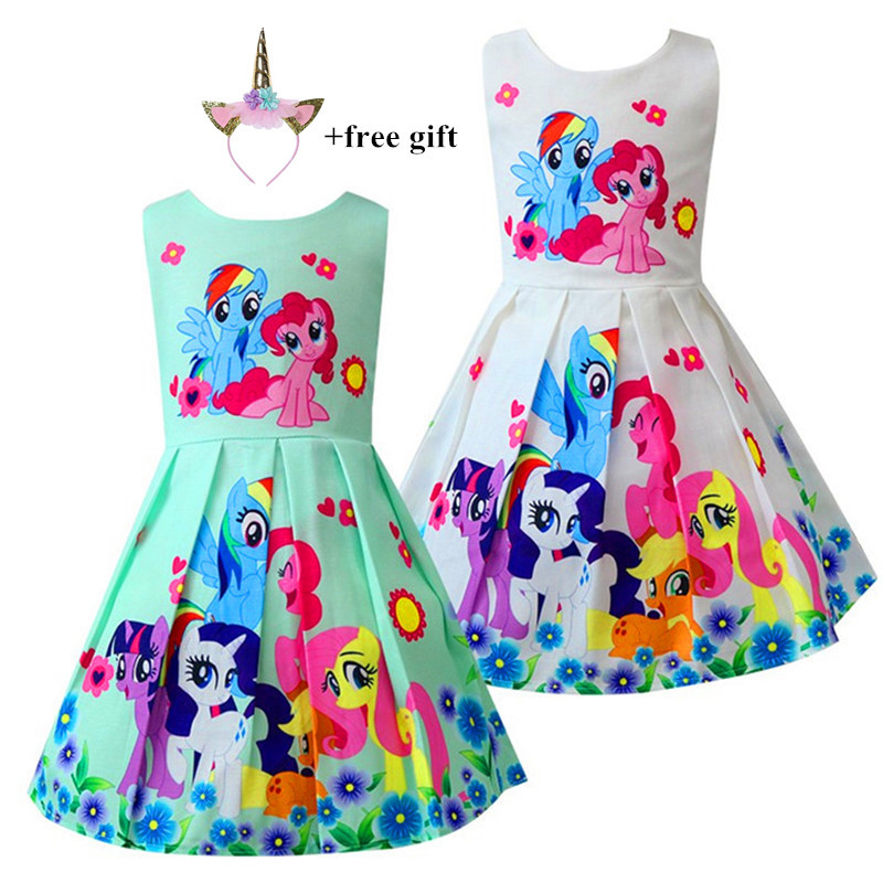 Kids Dresses For Girls My little Poli Children's Dresses Rainbow Dress Cute Pony Foal Princess Party Dress Unicorn Clothes 2018 my little baby girl pony dress children unicorn dress my little kids pony princess birthday party tutu dress photo prop outfits