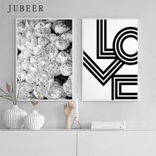 Scandinavian Style Black and White Poster Flower Wall Art Peony Prints Love Canvas Painting for Bedroom Decorations