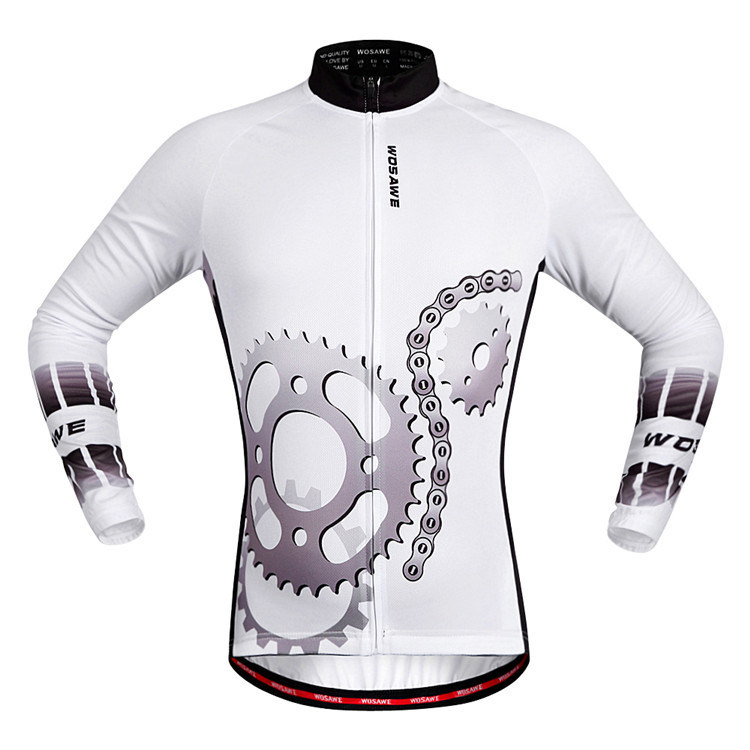 Breathable WOSAWE Cycling Clothing Long Sleeve White Color Men/ Women Bike Clothes Outdoor Anti-stripe Bicycle Riding Jerseys