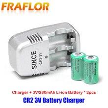 CR2 3V (15270) AI BALL Mini Wifi caméra télémètre chargeur de batterie avec 2 pièces Rechargeable li on batterie ca 110 240V entrée