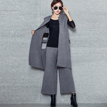 womens Spring Autumn Cashmere Knit Sweater 2 Piece Sets Women's High Quality Knitted Long Vest Wide Leg Pants Suit L010