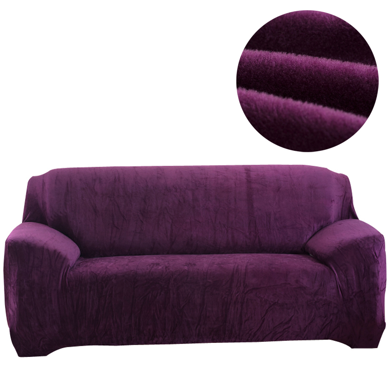 Simple style Flannel Solid Color Sofa Cover Elastic