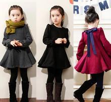 Осень зима девочка платье с длинным рукавом платье дети бархат назад с бантом платье девушка с длинным рукавом толстые платье принцессы бесплатная доставка