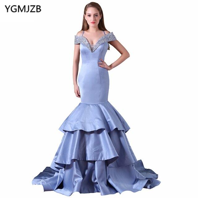 ee8421a66e6 New Arrival Long Prom Dresses 2018 Mermaid V Neck Off Shoulder Beaded  Sequined Prom Gown Blue Evening Dress Vestido De Festa
