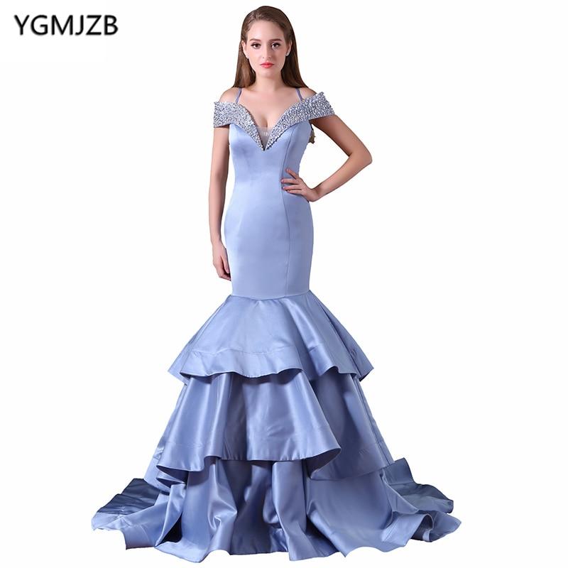 New Arrival Long   Prom     Dresses   2018 Mermaid V Neck Off Shoulder Beaded Sequined   Prom   Gown Blue Evening   Dress   Vestido De Festa
