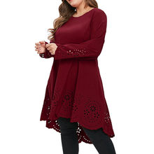 Fashion Summer Dress Women Sexy Dress Girl O-Neck Long Sleeve Plus Size 5XL Laser Cut High Low Hollow Out Pr om Dresses(China)