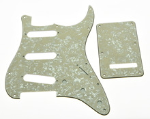 ST Pickguard,Trem Cover and Screws SSS Aged Pearl