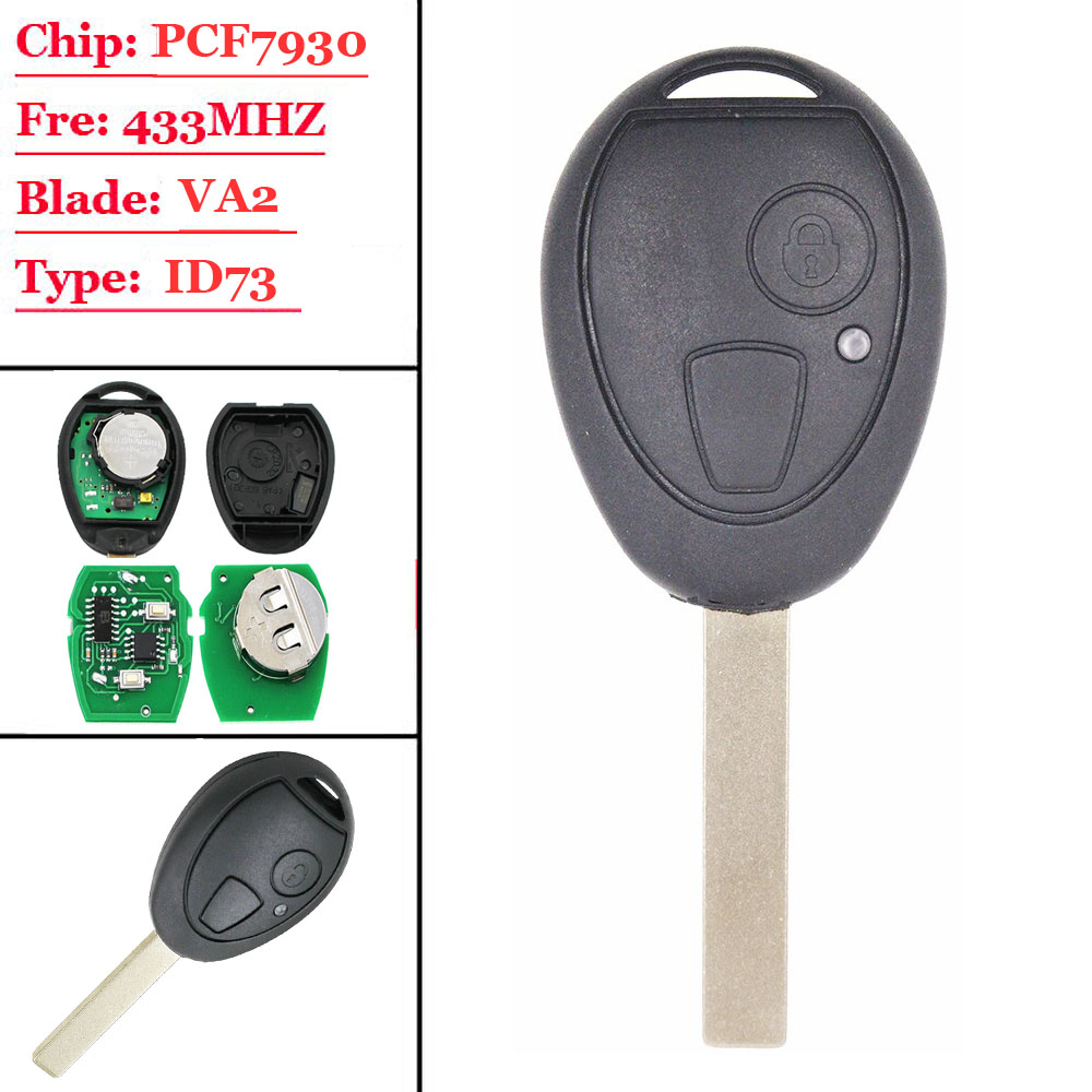 2 Button Remote Smart  Key 433Mhz ID73 Chip Uncut Blade For BMW Mini For Cooper 2002 2003 2004 2005 R50 MG ZT ZR ZS Rover 75
