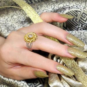 Image 5 - Женское кольцо с подсолнухом DALARAN, кольцо из серебра 925 пробы с блестящим цирконием, украшения на свадьбу и годовщину