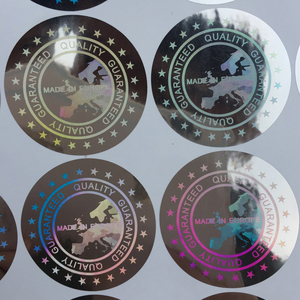 Image 3 - Baseball caps stickers Label MADE IN EUROPE  Quality Guaranteed Hologram sticker  40mm large cloth stickers holographic stickers