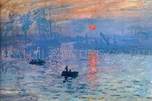 Professional Artist Reproduction Claude Monet Impression Landscape Sunrise Oil Painting On Canvas For Living Room Decoration