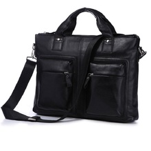 2016 New Hot Selling Fashion Real Leather Men's Black Briefcases Laptop Bag Shoulder Messenger Handbags 7177