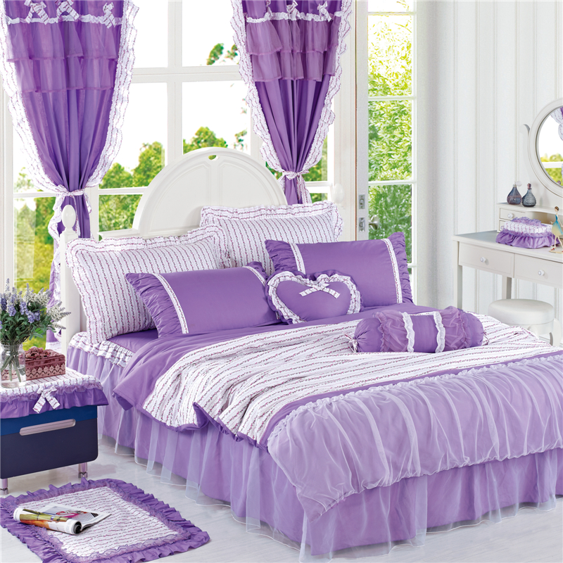 Korean Purple Lace bedding set bedspread 3/4Pcs romantic princess bedclothes bed set cotton duvet covers bed skirt queen king