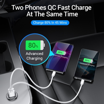 FIVI Car Charger for mobile phone quick charge 3.0  USB Charger for iphone 11 pro Samsung huawei xiaomi mini car chargeAll Metal 2