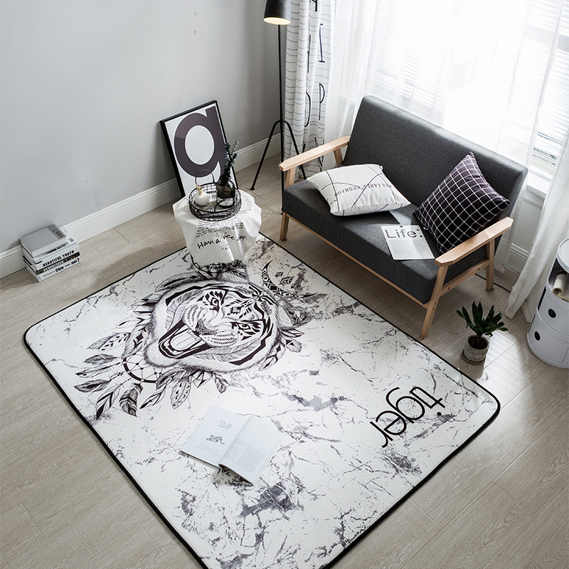 Honlaker Nordic Creative Fashion Decorative Living Room Carpet Ultra-Soft Water-Absorbing Large Rugs and Carpets Floor Mats