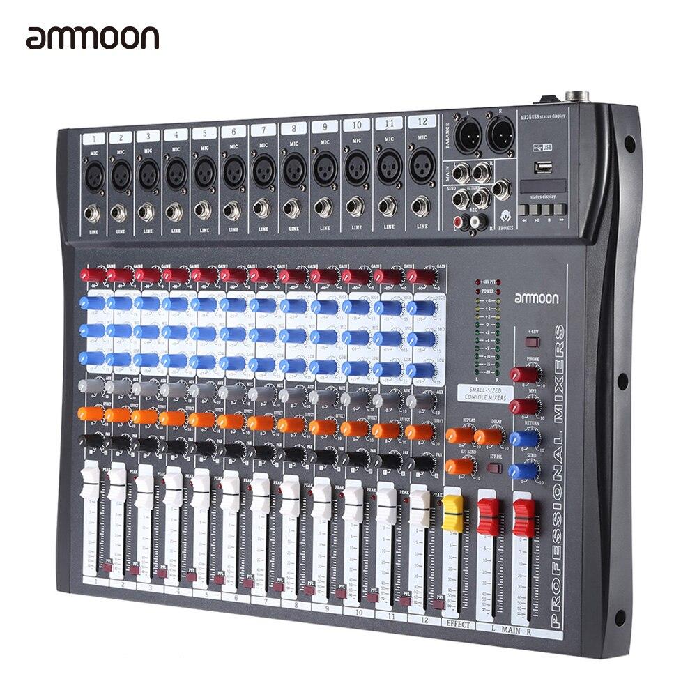 Ammoon 120S-USB 12 canaux micro ligne Audio mélangeur Console de mixage USB XLR entrée 3 bandes EQ 48V alimentation fantôme avec adaptateur secteur