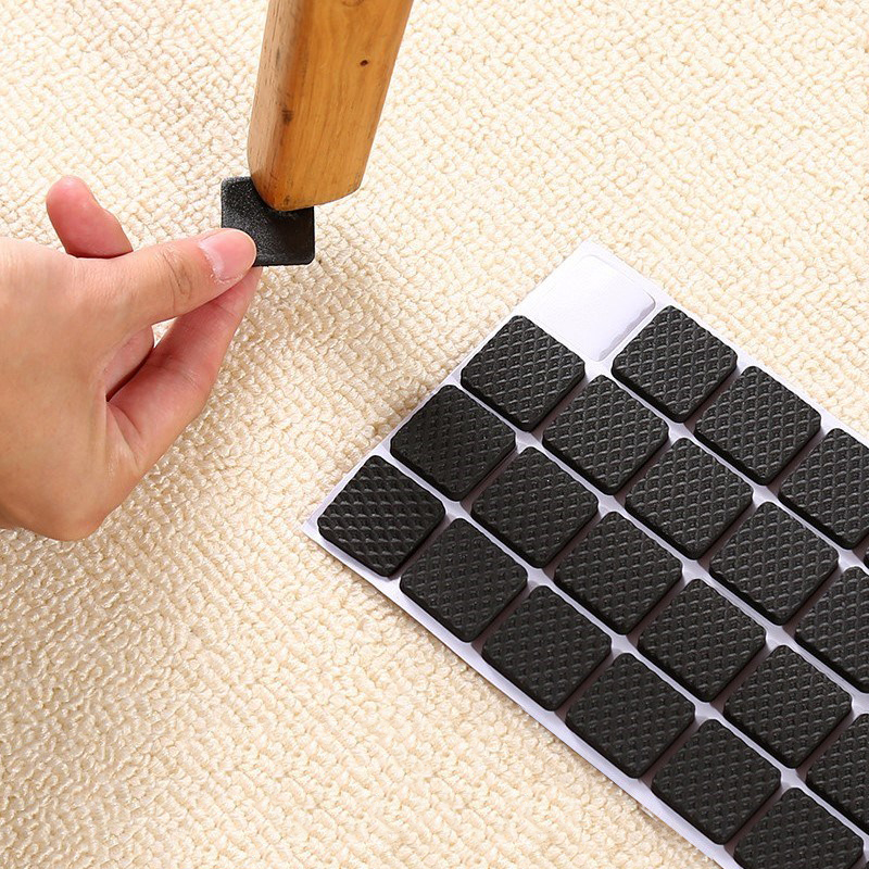 2/4/8/16 Pieces Rectangle Chair Leg Pads Floor Protectors For Furniture Legs Table Leg Covers Bottom Anti Slip Pads Rubber Feet