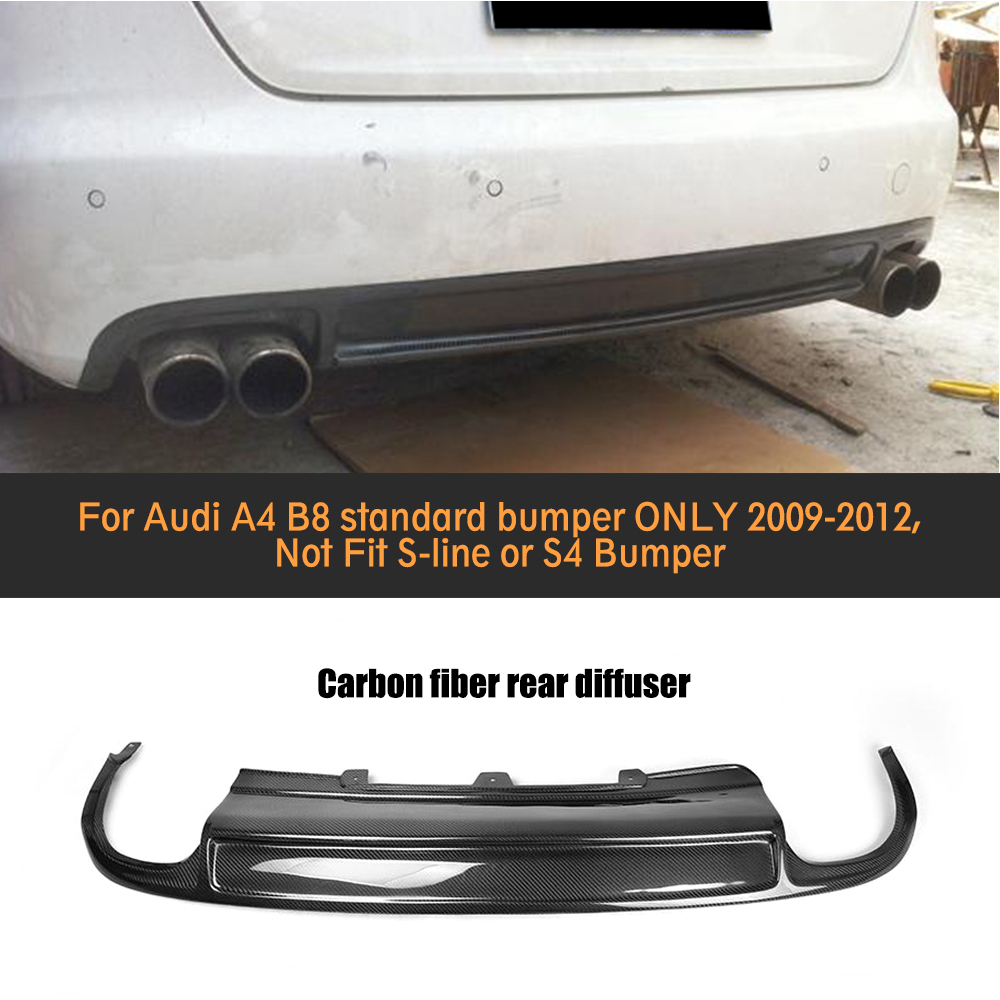 Carbon Fiber Car Rear bumper lip Spoiler diffuser With Exhaust For Audi A4 B8 Standard Sedan Only 09-12 Four outlet Black PU
