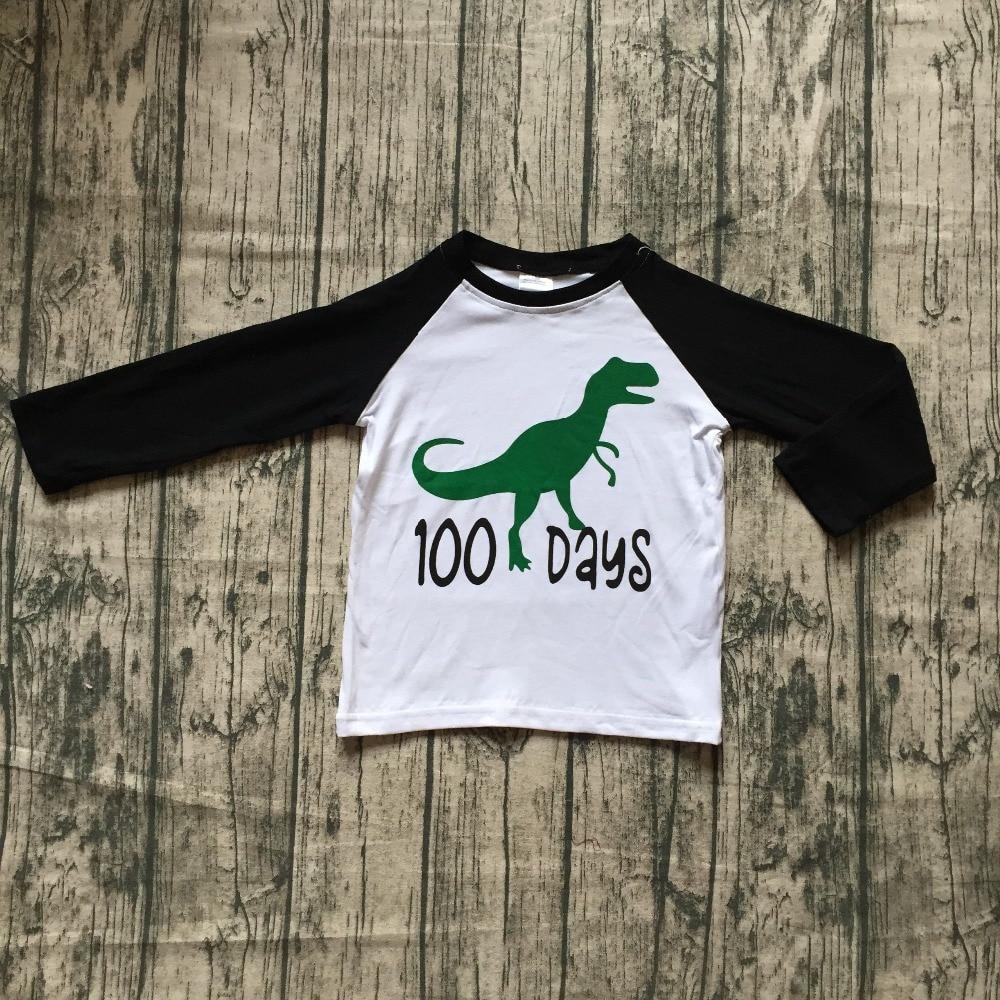 exclusive baby boys raglans boutique black 100 days green Dinosaur black long sleeve top shirts clothes back to school cotton thumbnail