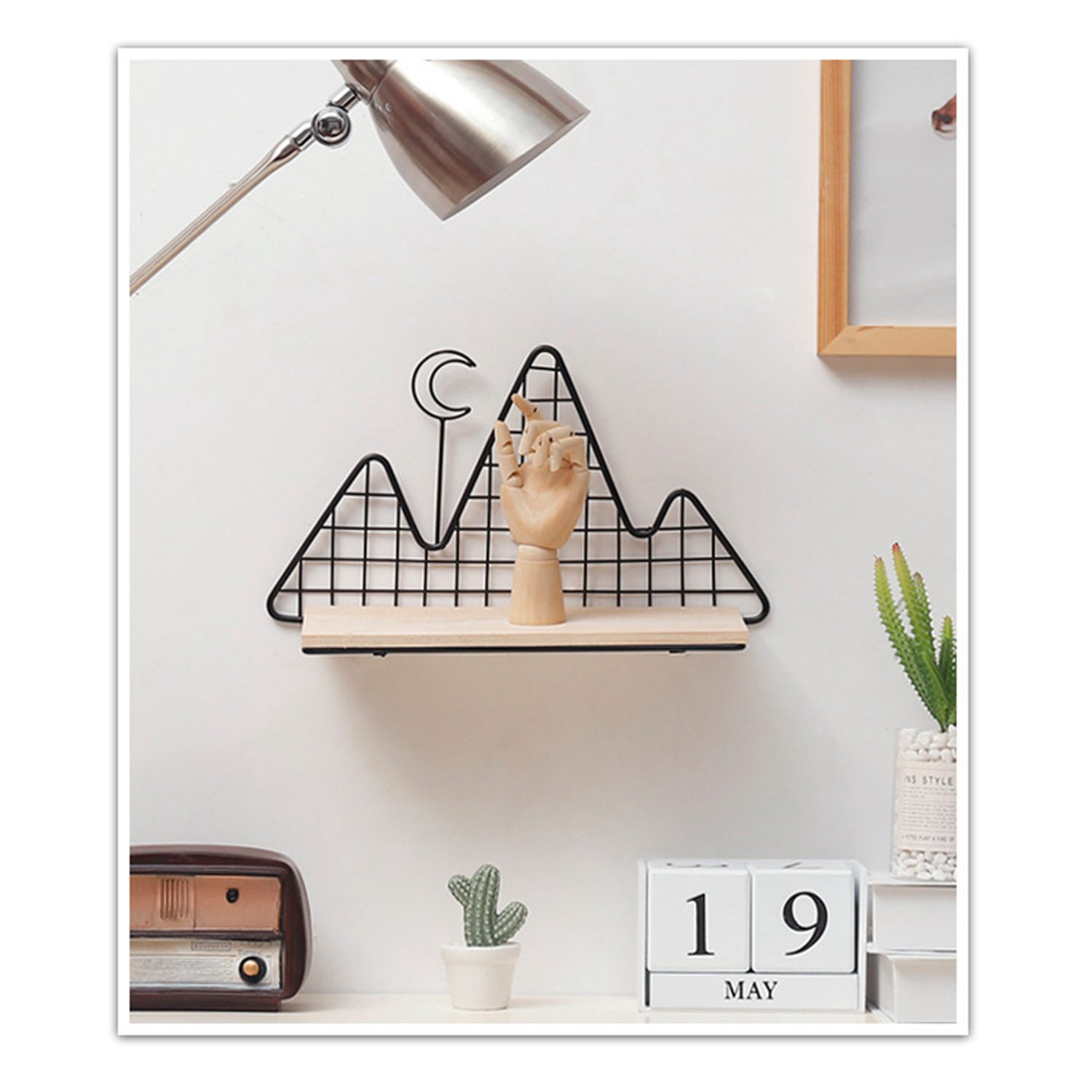 YHYS Nordic ins style room ornament geometric wrought iron wall bedroom creative wall shelf